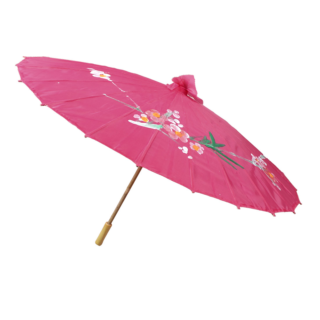 Fuchsia Nylon Fabric Wooden Handle Floral Dance Umbrella Parasol