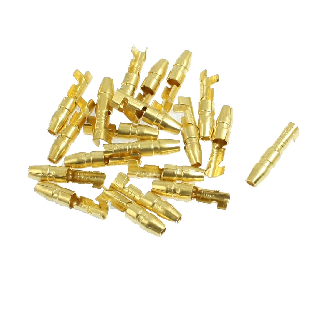 20 Pcs Gold Tone Brass Male Crimp Terminals Pin 4mm Wiring Connectors