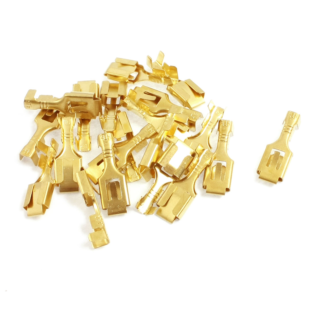 20 Pcs 6.3mm Brass Crimp Terminal Cable Female Spade Connector