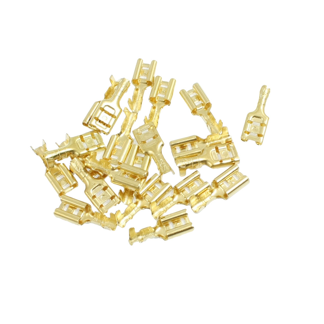 20 Pcs Gold Tone Brass Crimp Terminal 6.7mm Female Spade Connectors