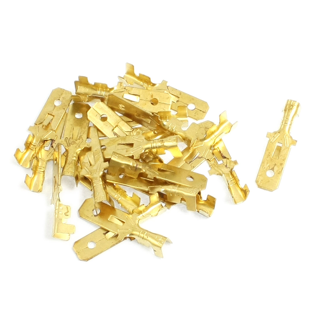 20 Pcs 7.6mm Width Wire Brass Male Spade Terminal Connectors