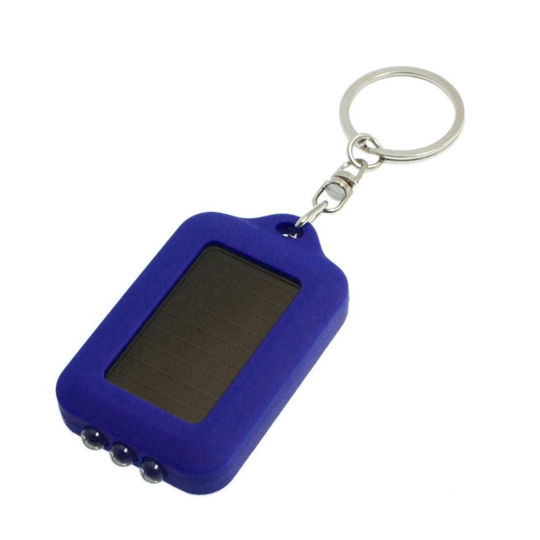 Solar Powered White 3 LED Flashlight Keychain Keyring Dark Blue
