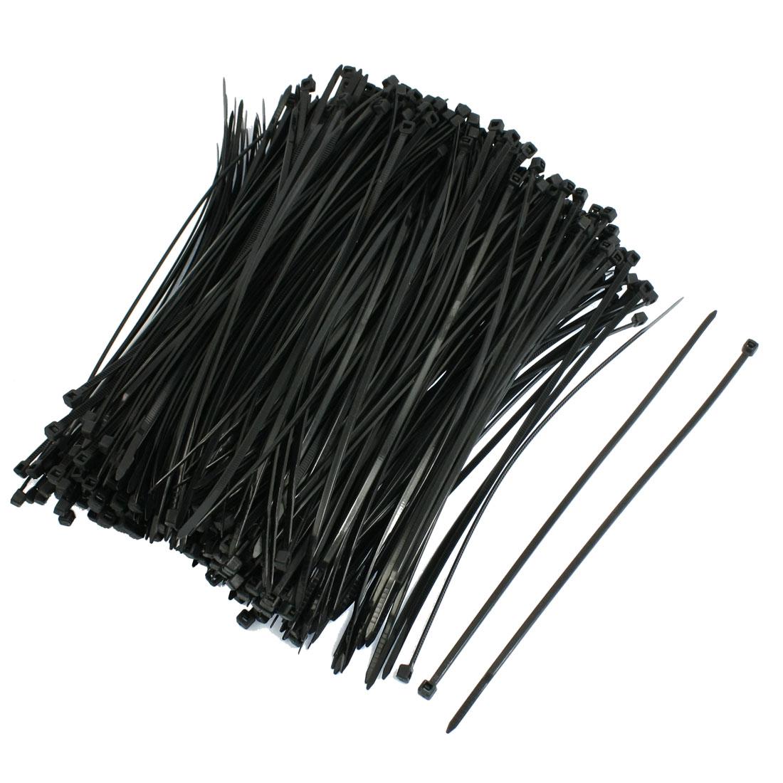 500 Pcs 3mm x 200mm Wire Cable Wrap Strap Tie Fastener Organizer Black