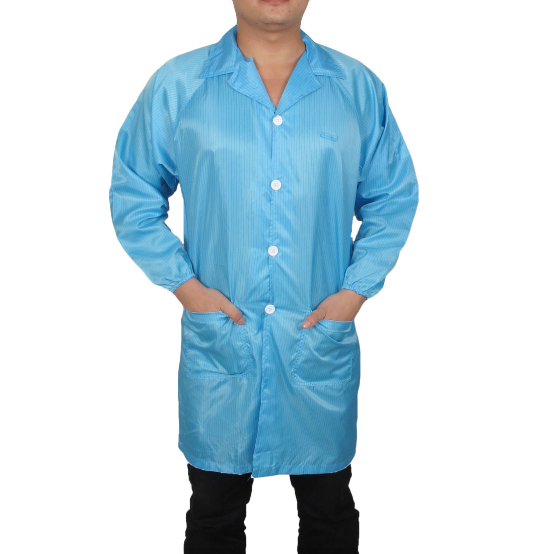 Men Women Blue Striped Pattern Button Closure Anti Static Overall Gown Uniform L
