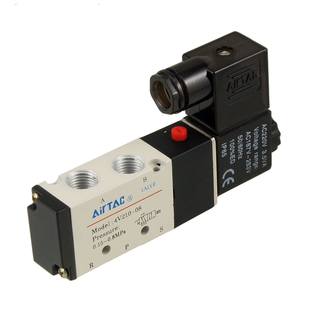 Single Head 2 Position 5 Port Pneumatic Air Solenoid Valve 220V AC