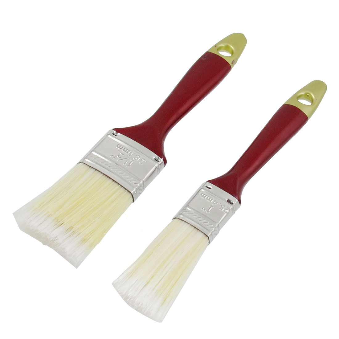 "2 Pcs Red Paint Coated Plastic Handle Car Flow Vent Clean Brushes 1"" 1.5"""