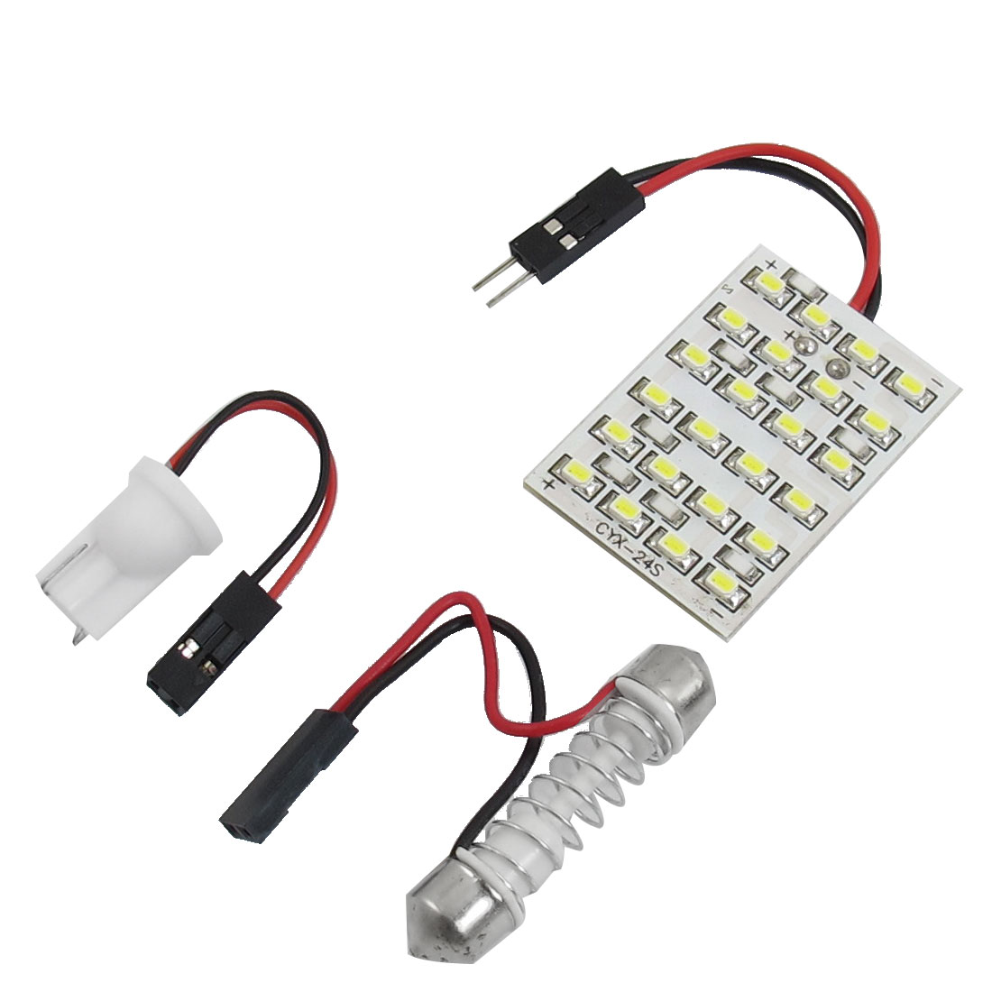 Car Auto Interior Roof White 24 1210 SMD LED Light Panel w T10 Festoon Adapter