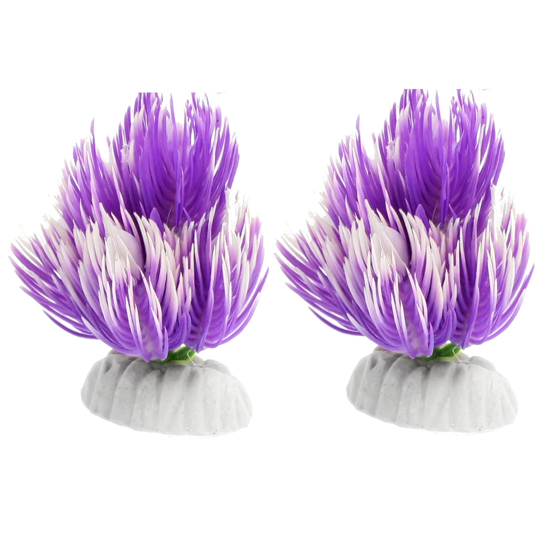 "3.5"" Height Purple White Fish Tank Ornament Decoration Plant 2 Pcs"