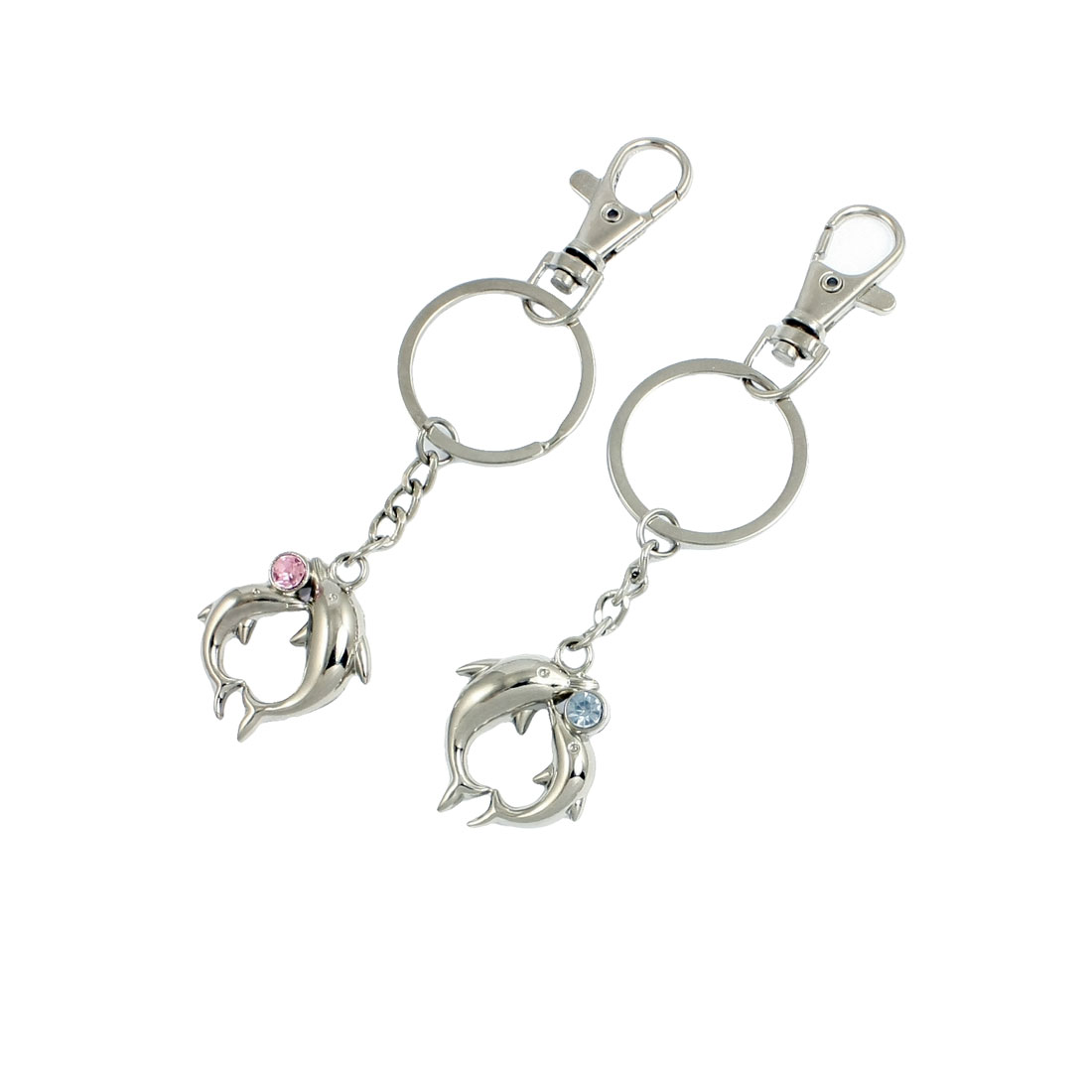 Lovers Dolphin Shaped Pendant Metal Keyring Keychain Pair