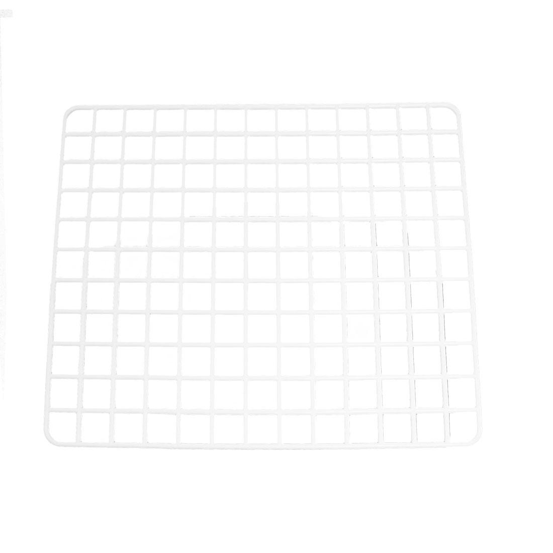Rectangle Plastic Mesh Grid Design White Draining Board Holder