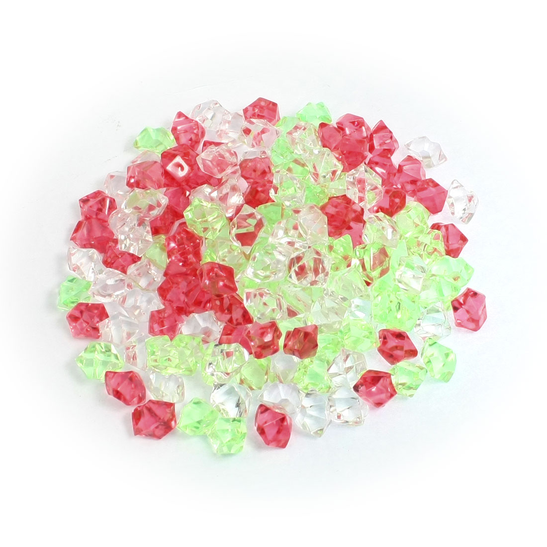 Fish Tank Decoration Red Green White Faux Crystal Stones 150Pcs