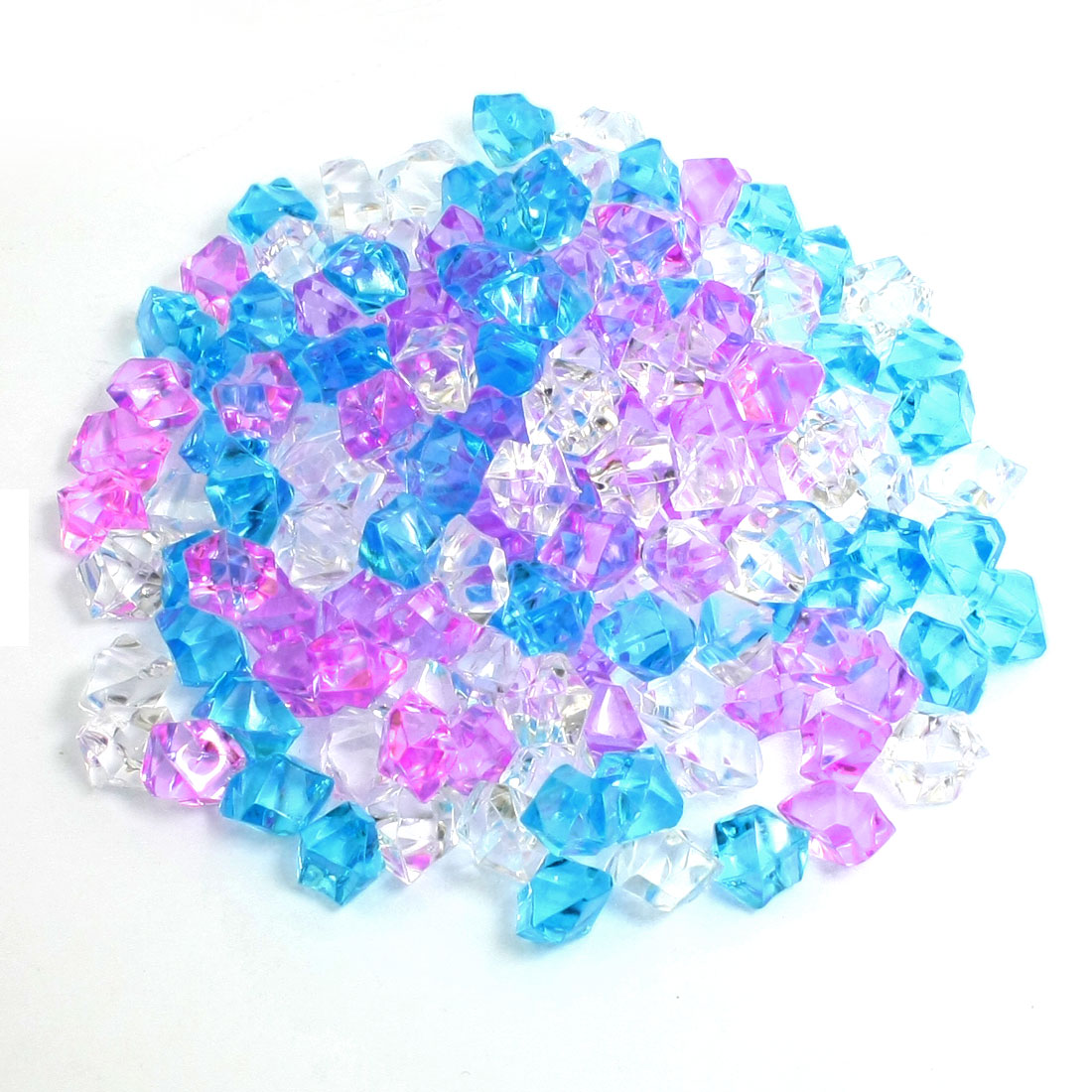 150Pcs Blue Pink White Plastic Beads Aquarium Ornament Crystal Stone