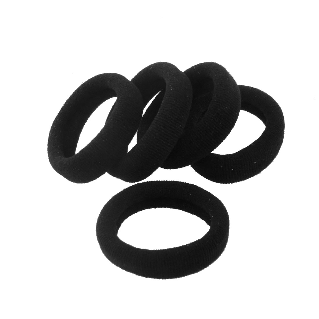 5 Pcs Black Stretchy Band Hair Tie Ponytail Holders