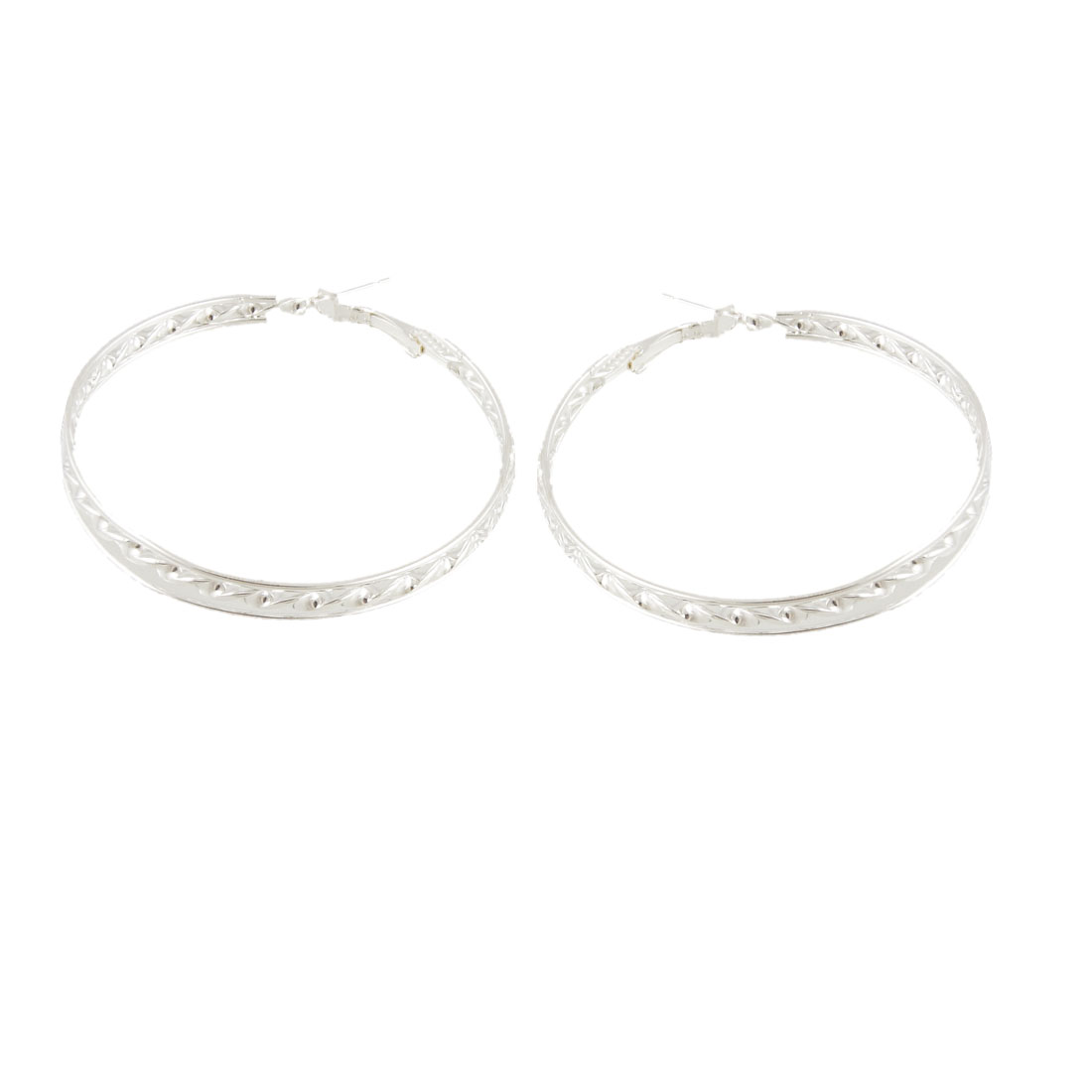 "Ladies 2.2"" Diameter Silver Tone Alloy Hoop Earrings Pair"