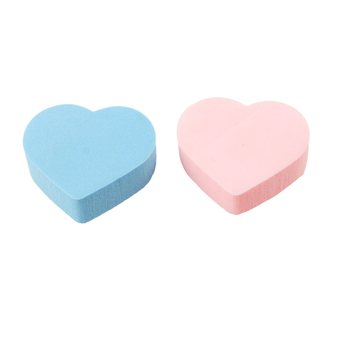 2 Pcs Pink Blue Heart Shaped Face Care Powder Puff Cosmetic Makeup Sponge