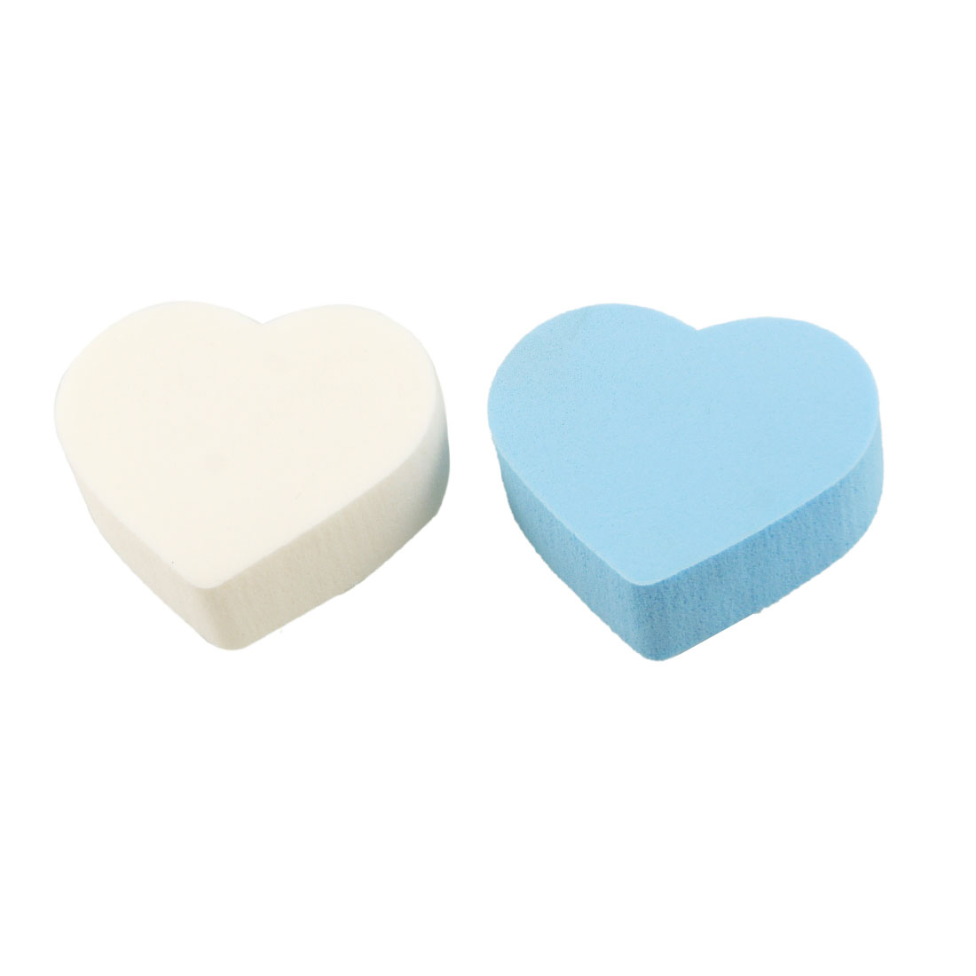 2 Pcs White Blue Heart Shaped Face Care Cosmetic Powder Puff