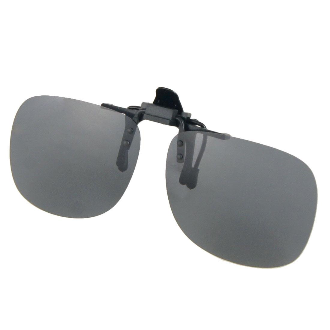 "5.1"" Frame Width Black Lens Flip Up Rectangle Clip On Polarized Eyewear Sunglasses"
