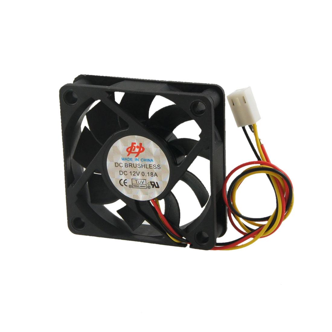 Black Plastic Brushless 3 Pin DC 12V 0.18A 60mm Square Cooling Fan Cooler