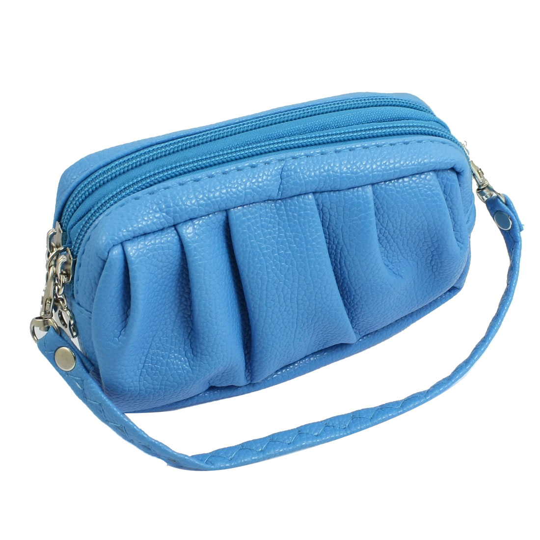 Women Sky Blue Ruched Faux Leather Handbag Purse w Lobster Clasp Strap