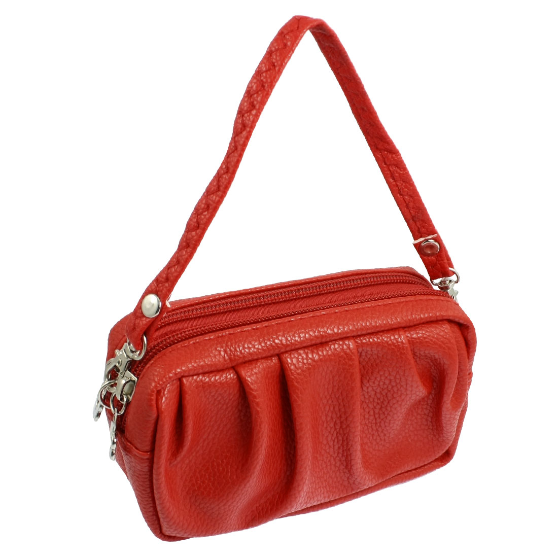 Women Red Faux Leather 2 Compartments Zipper Mini Hand Bag Wallet