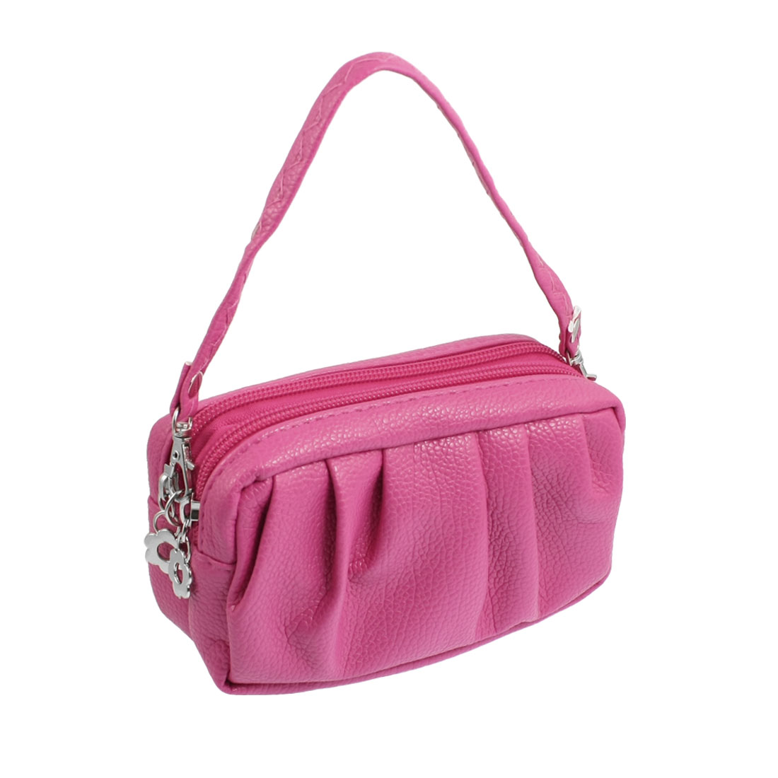Women Fuchsia Ruched Faux Leather Handbag Purse w Lobster Clasp Strap