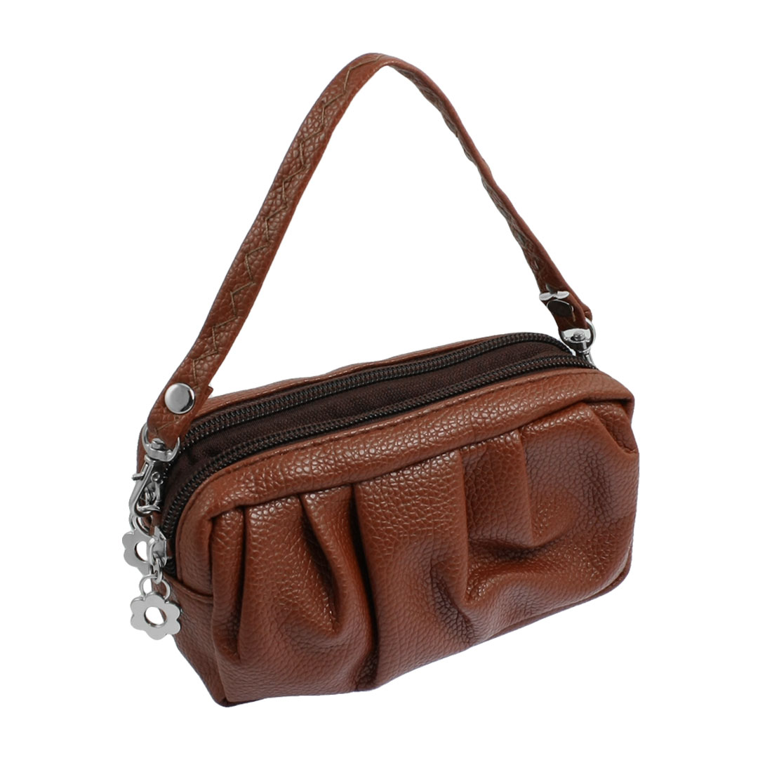 Women Coffee Color Faux Leather 2 Compartments Zipper Mini Handbag Wallet