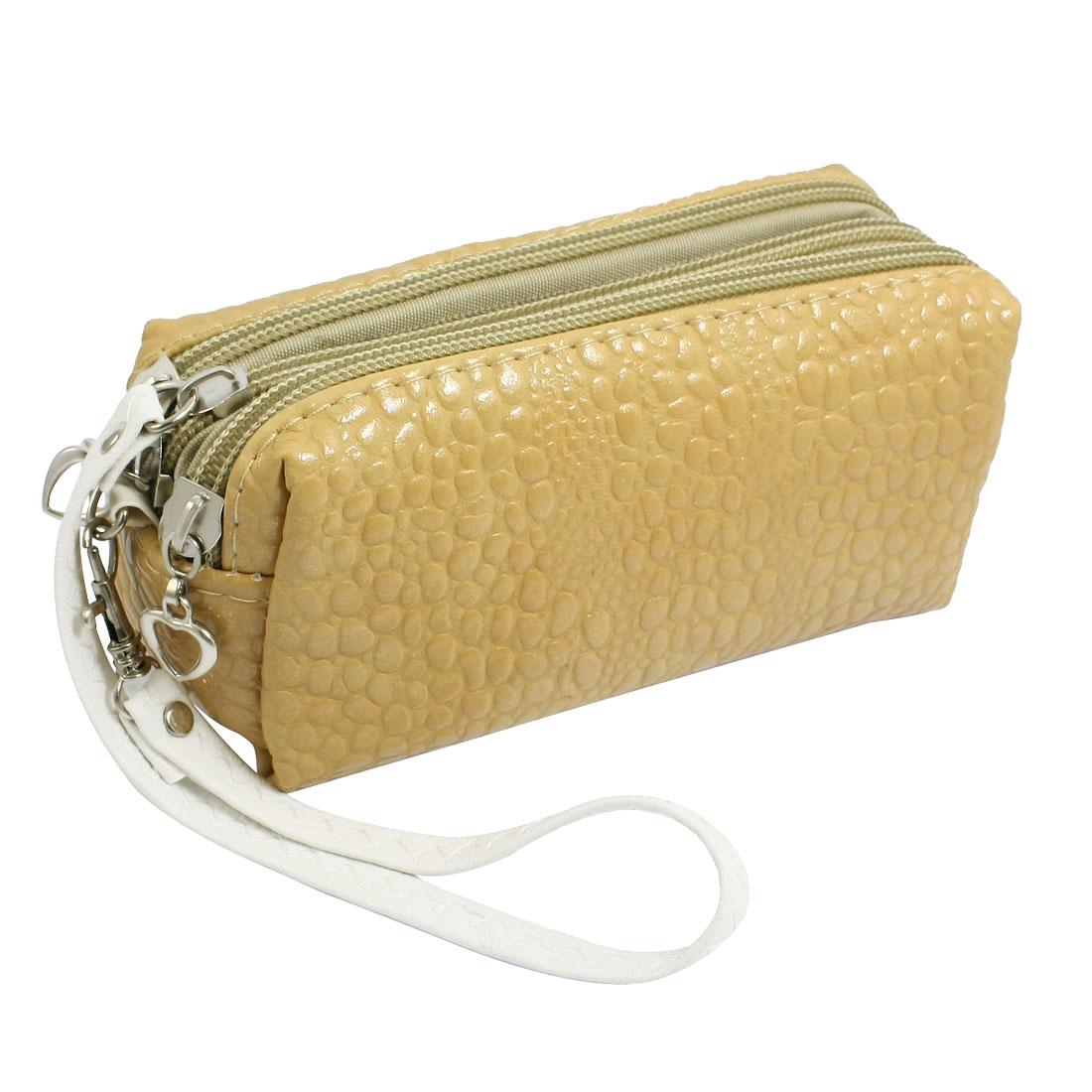 Women Khaki Faux Leather Crocodile Pattern Wallet Purse Bag w Hand Strap