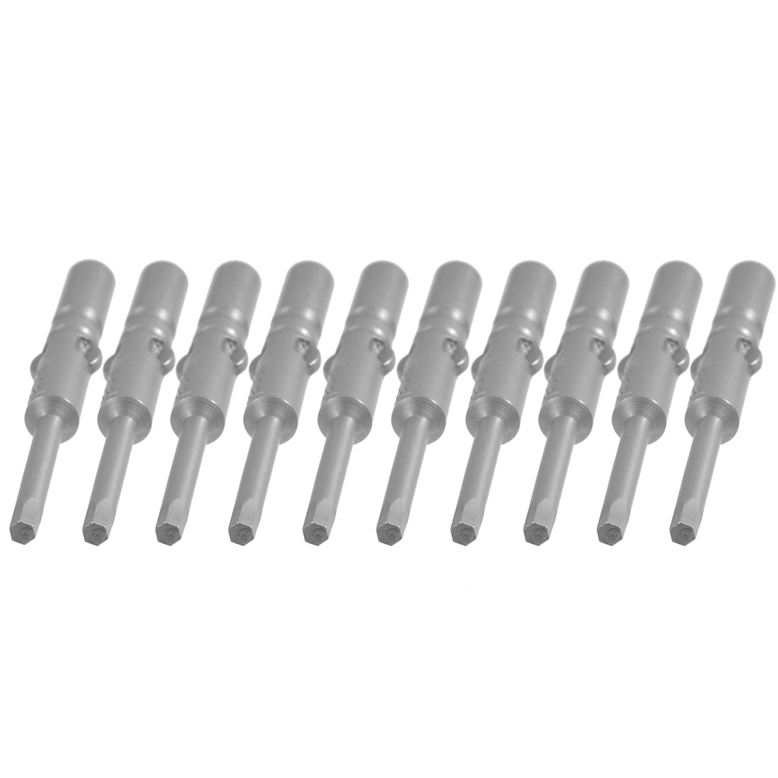 10 Pcs Round Shank 60mm Long 2.5mm Hexagon Tip Hex Head Screwdriver Bits