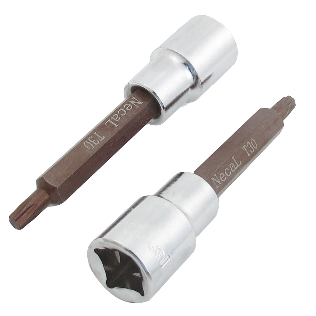 "2 Pcs T30 3/14"" Torx Head Screwdriver Link 1/2"" Square Mechanic Drive Socket"