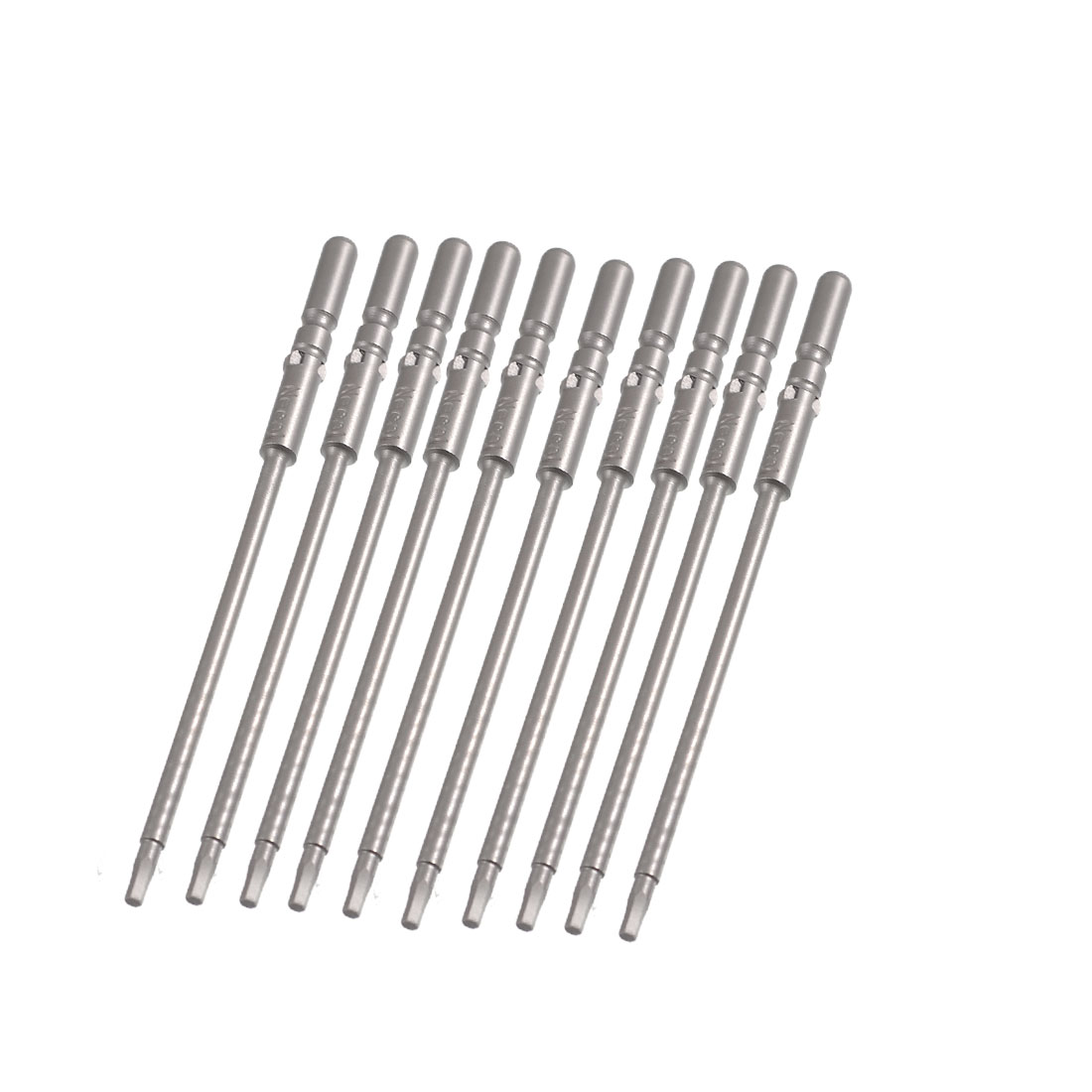 10 Pcs Round Shank 100mm Long 2mm Hexagon Tip Hex Head Screwdriver Bits