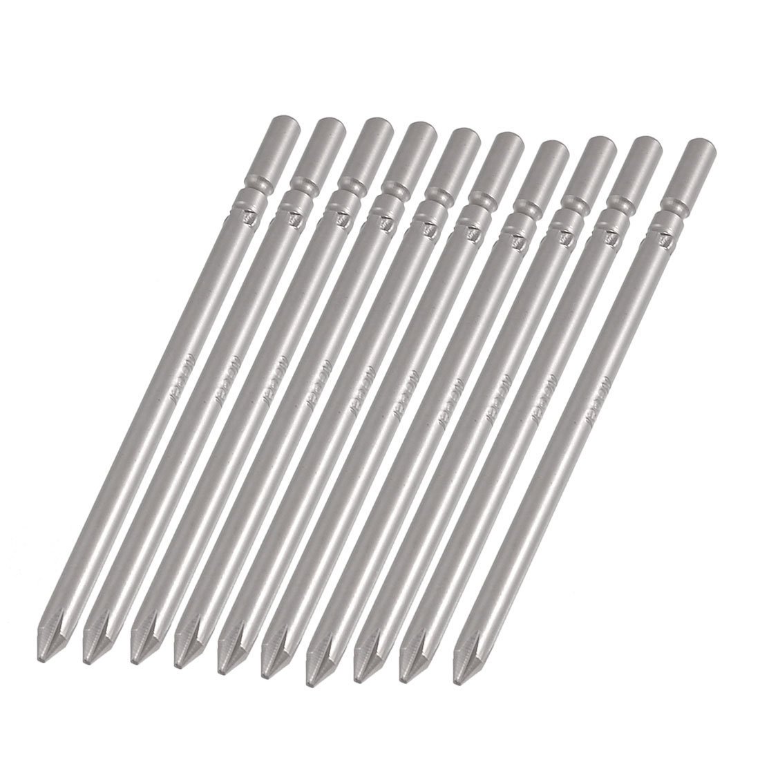 5mm x 100mm x 5mm Gray Metal Crosshead PH1 Screwdriver Bits 10Pcs