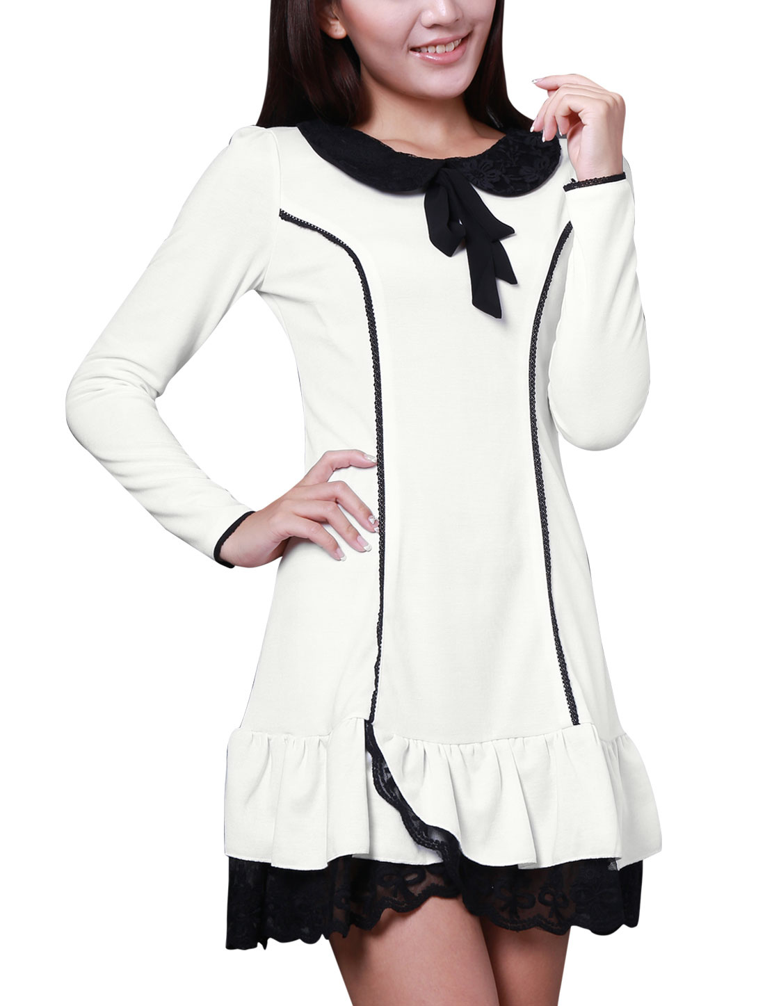 Ladies Peter Pan Collar Long Sleeve Scalloped Hem Mini Dress White XS
