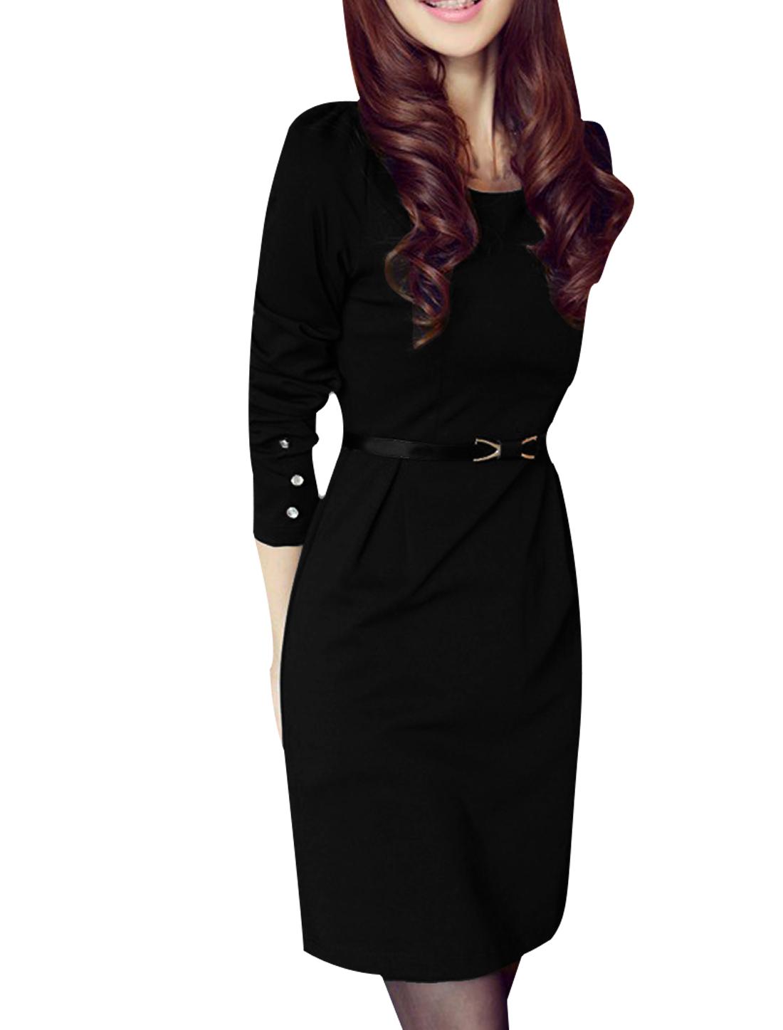 Ladies Long Sleeve Scoop Neck Straight Cutting Black Dress W Belt XS