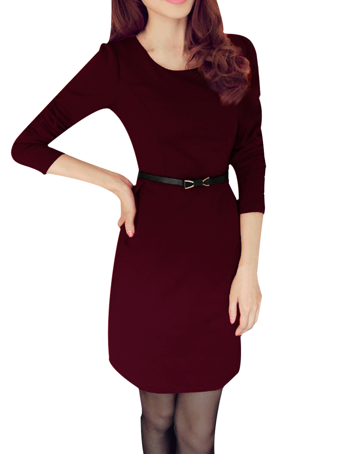 Dark Red Scoop Neck Long Sleeve Ladieswear Dress W Bow Knot Belt XS