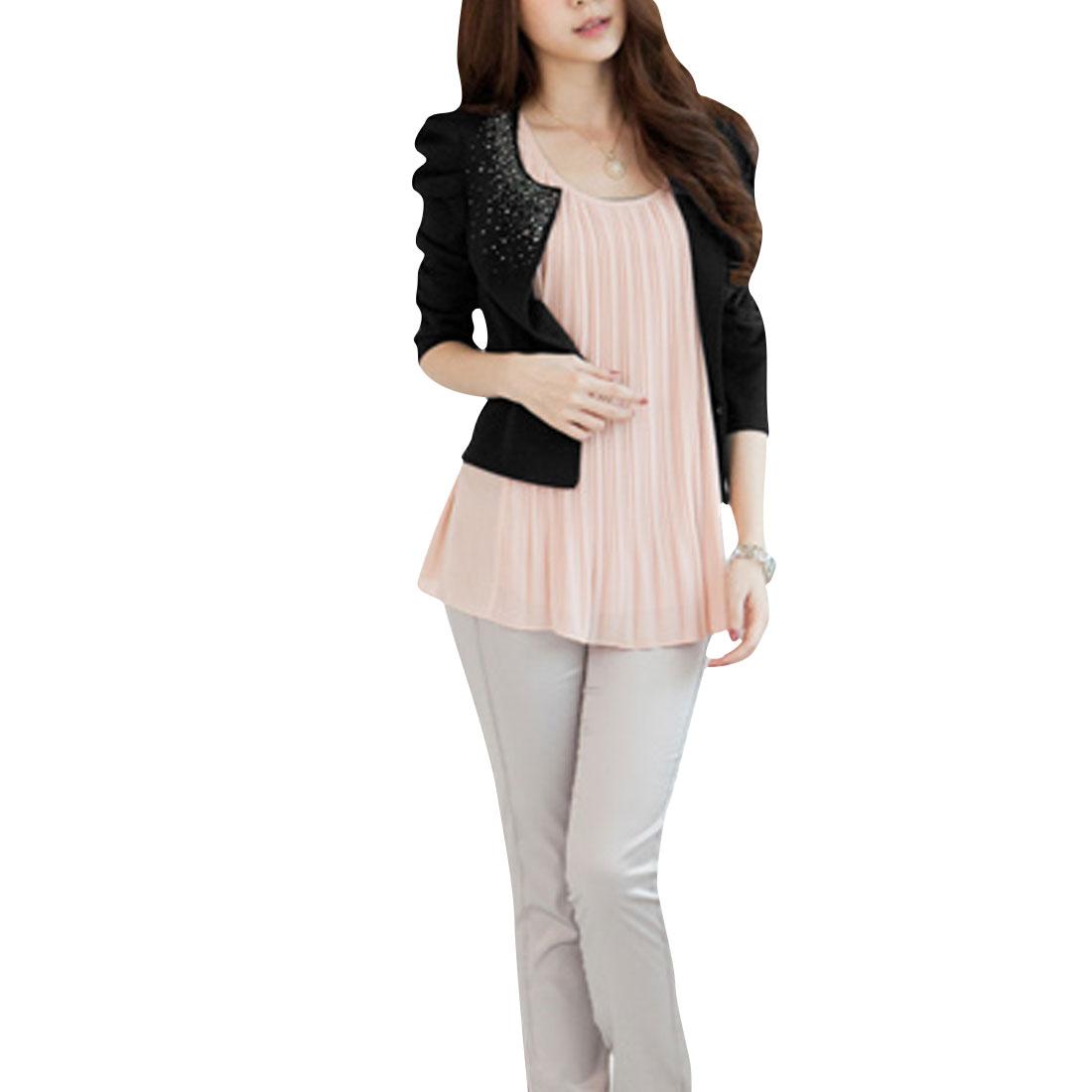 Capri Puff Sleeve Front Opening Rhinestone Decor Pink Womenwear Shrug XS