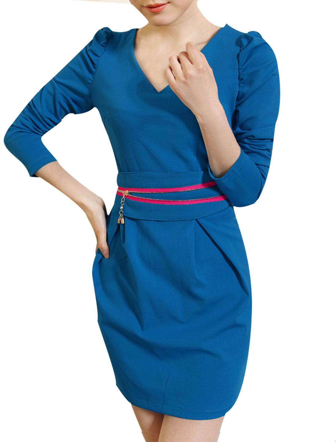 Women V Neck Puff Sleeves Sheath Dress w Waist Belt Blue XS