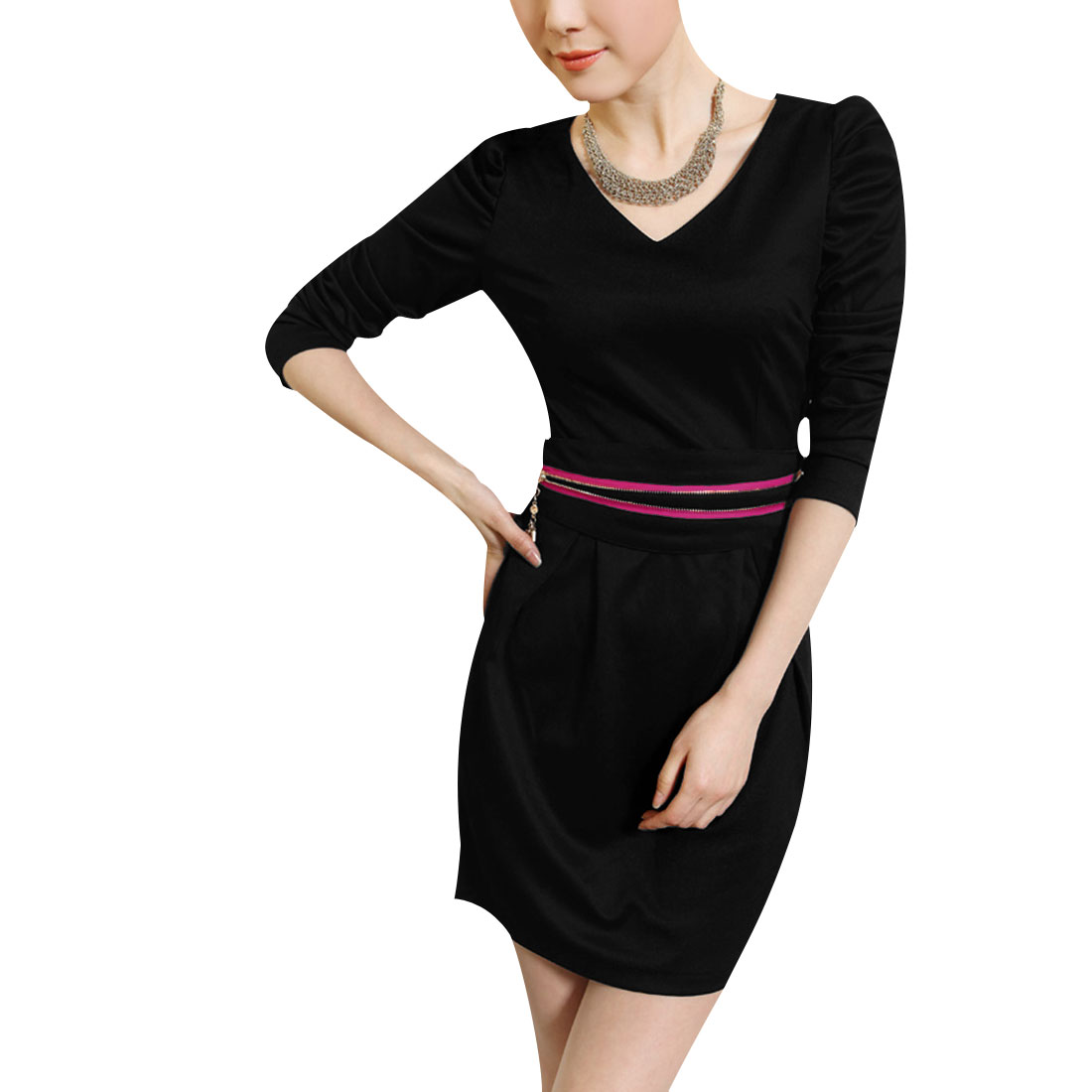 Ladies Black Puff Sleeves V Neck Pretty Above Knee Dress XS