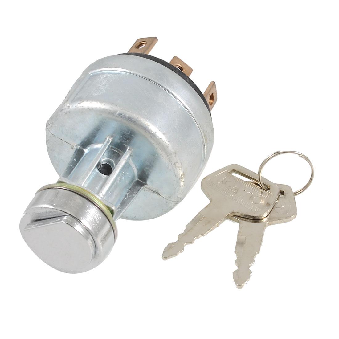 Silver Tone Metal Electric Door Lock w Keys for Kato Excavator