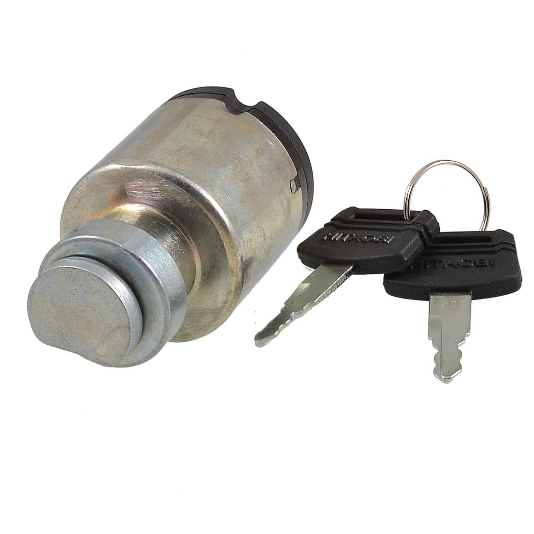 6-pin Terminal Metal Electric Door Lock w 2 Pcs Keys for Hitachi 200 Excavator