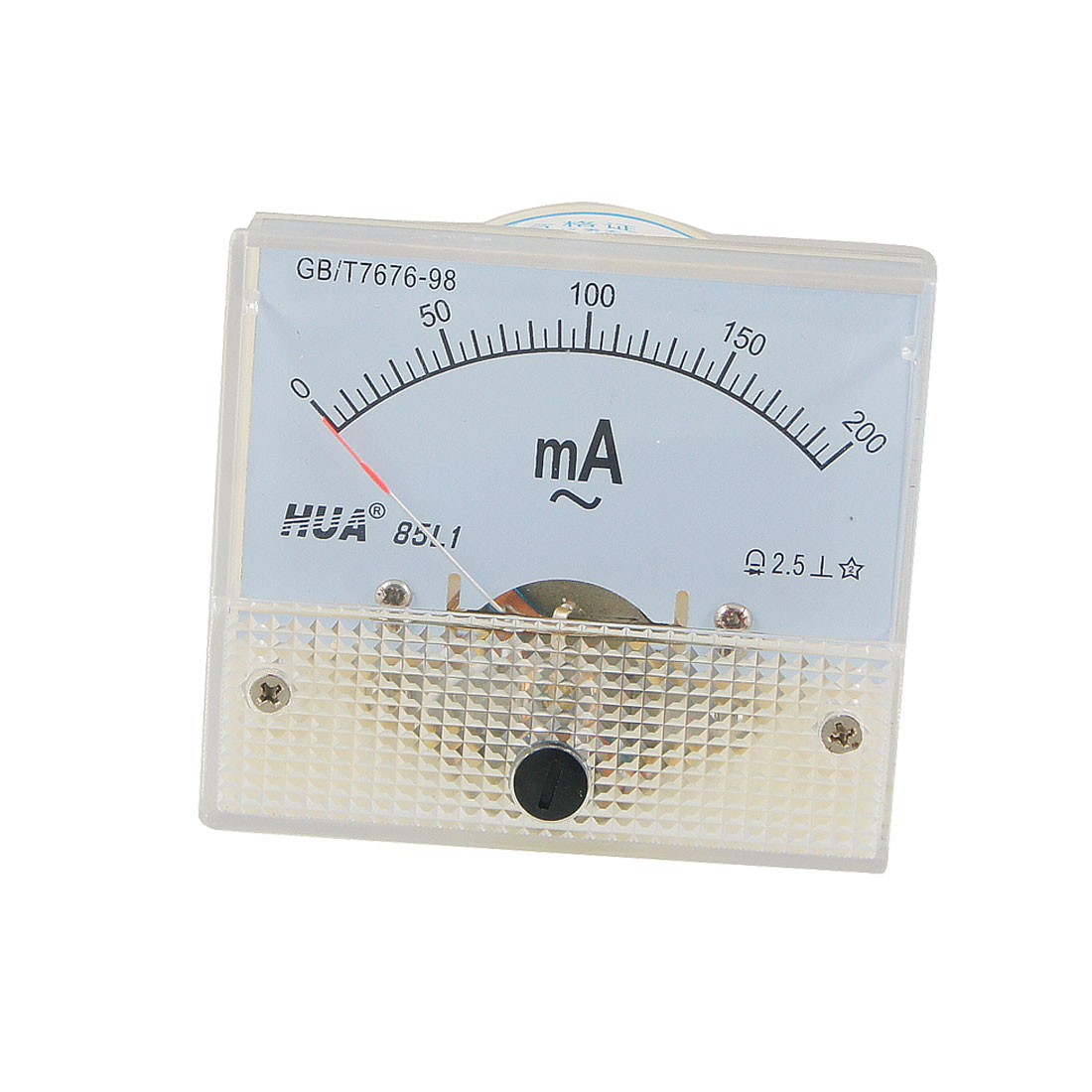 85L1 AC 0-200mA Rectangle Analog Panel Ammeter Gauge Off White Clear
