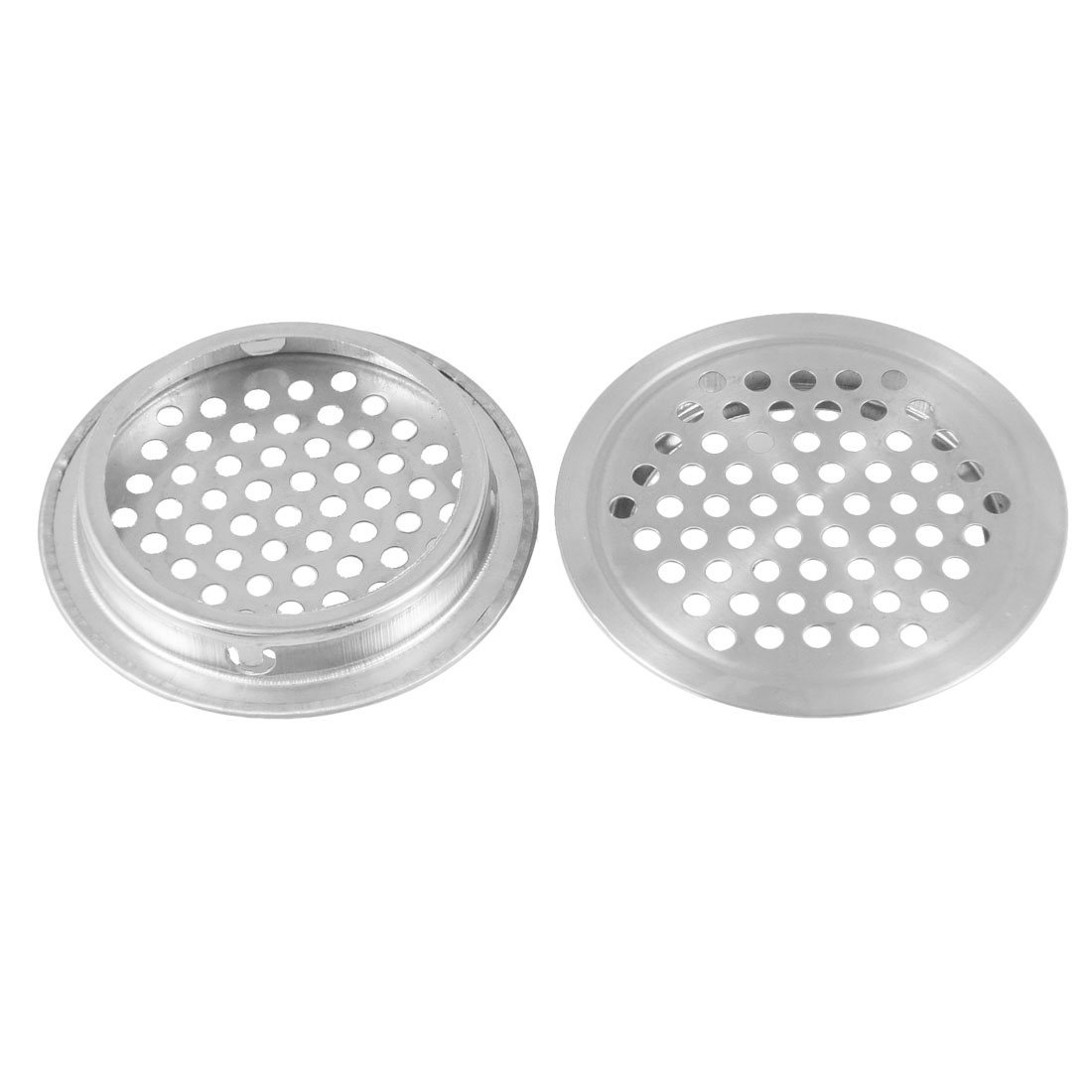 Home Silver Tone Stainless Steel Round Mesh Hole Air Vent Louver