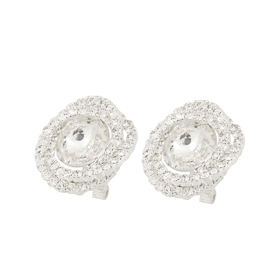 Pair Clear Faux Crystal Center Plastic Rhinestone Detail Round Earrings for Lady