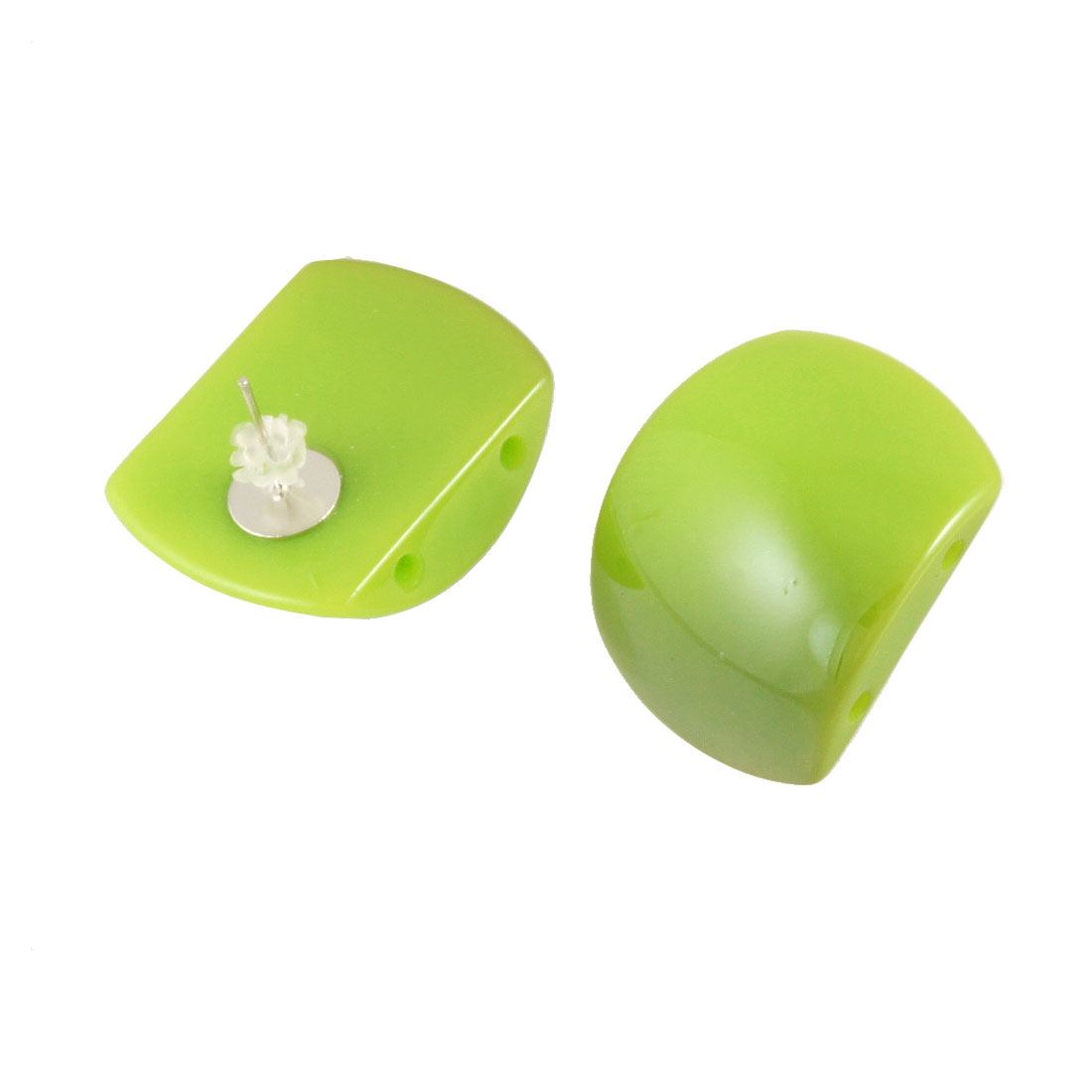 Women Pair Plastic Cap Pale Green Square Detailing Earbob Studs Earrings