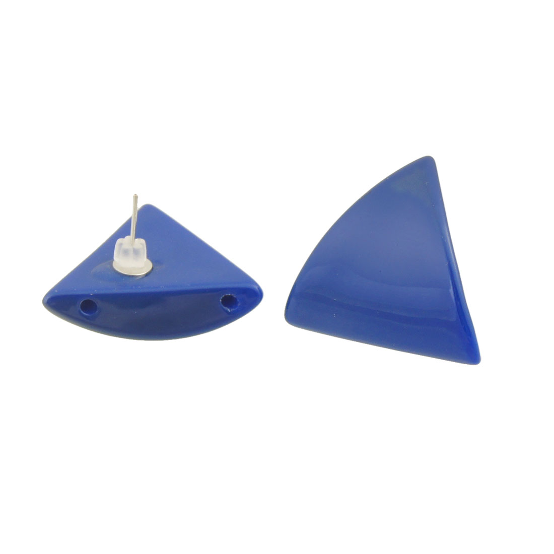 Pair Blue Plastic Triangle Shape Pendant Ear Pin Stud Earrings for Women