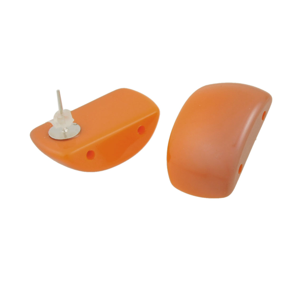 Woman Pair Plastic Cap Orange Arch Bridge Pattern Detailing Earbob Studs Earrings
