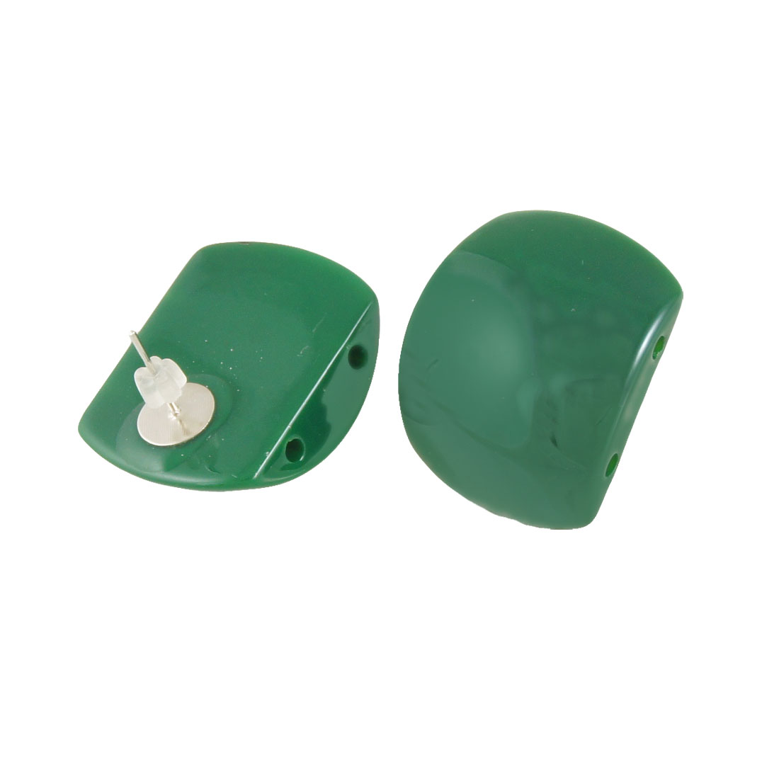 2 Pcs Plastic Cap Green Square Detailing Earbob Studs Earrings for Women
