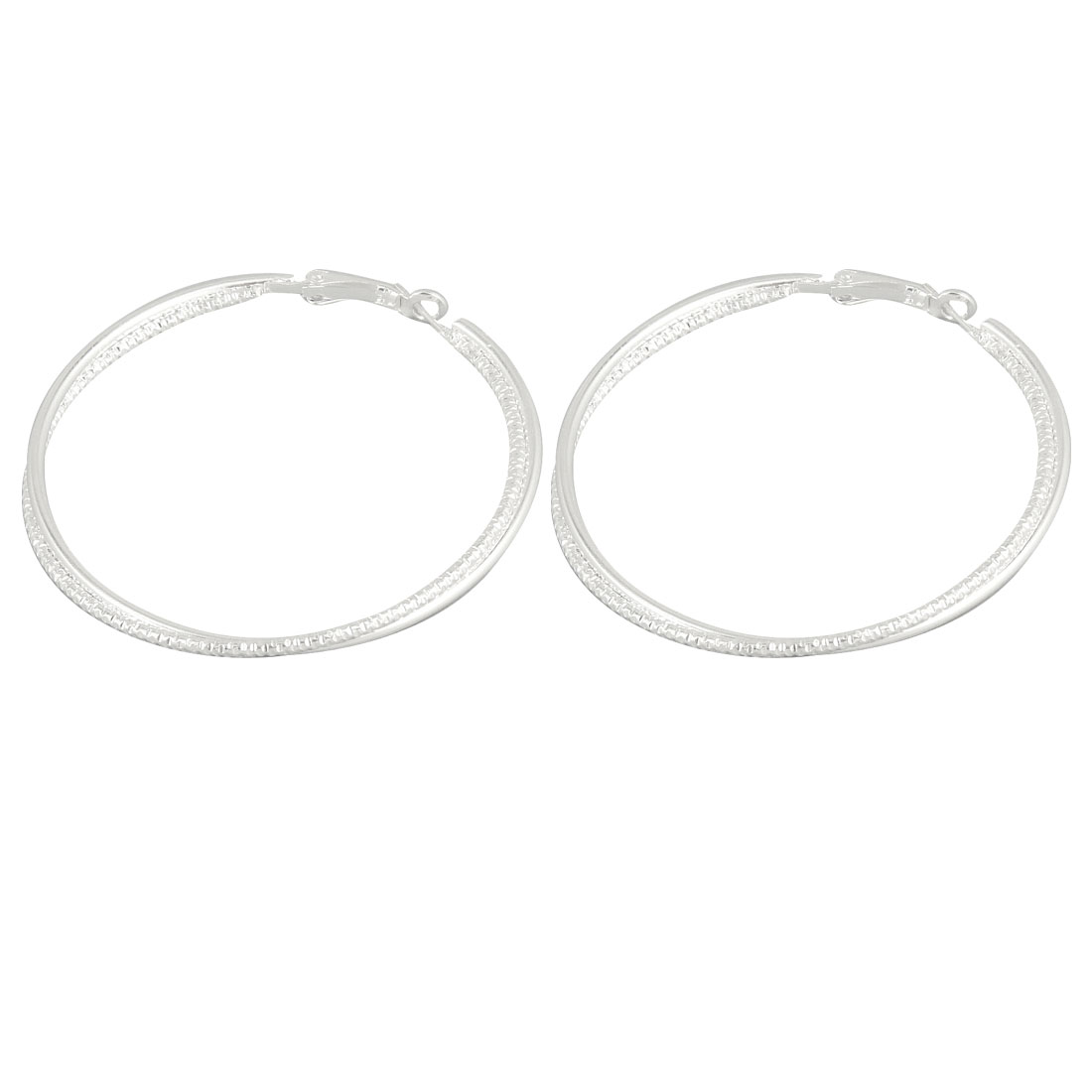 "Pair 2.4"" Dia Double Hoop Silver Tone Metal Earrings Earwear for Women"