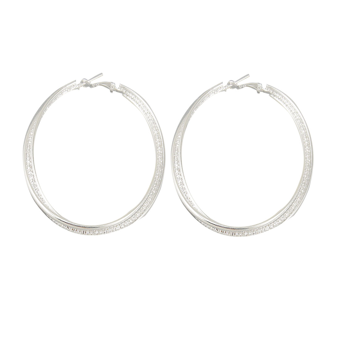 Pair 3 Rings Textured Silver Tone Spring Hoop Earrings Earwear for Ladies