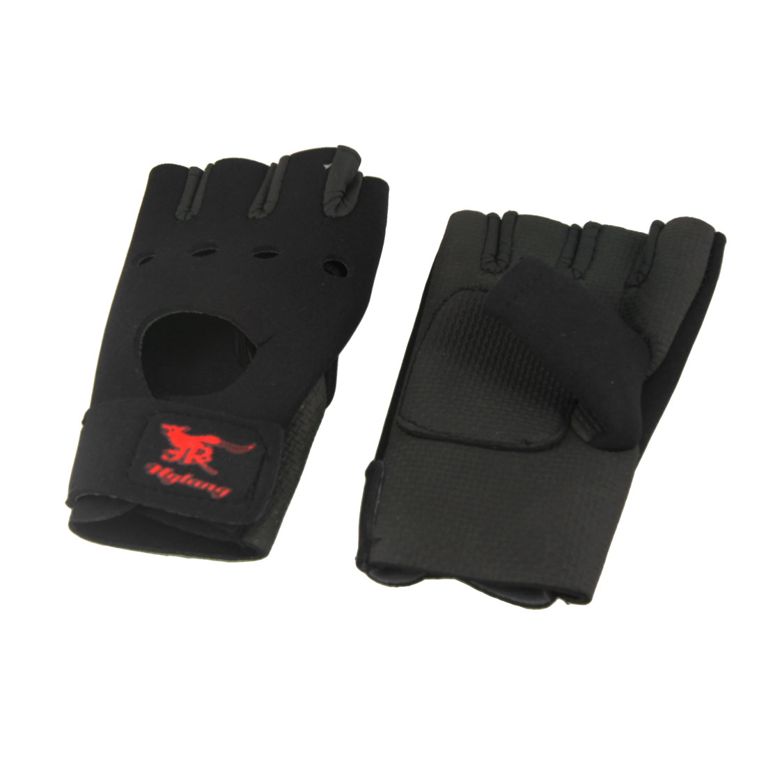 Adults Stretchy Half Finger Rubber Palm Sports Gloves Black Pair