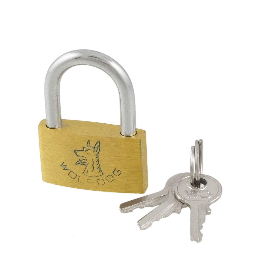 "1.2"" Length Gold Tone Metal Shackle Security Padlock w 3 Keys"